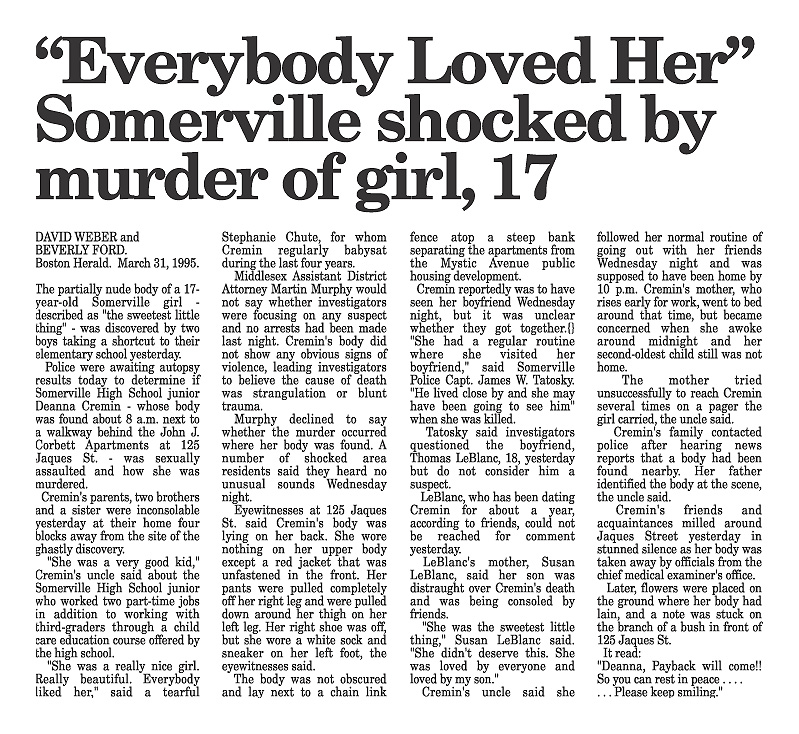 Deanna Cremin murder | Everybody Loved her, Somerville is Shocked...
