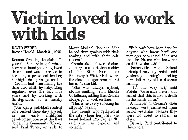 Deanna Cremin murder | Victim Loved to work with kids...