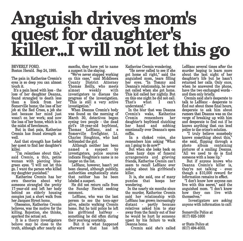 Deanna Cremin murder | Anguish drives Mom's quest for killer...